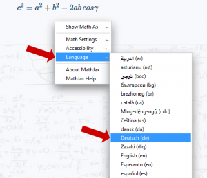 Mathjax - Sprache